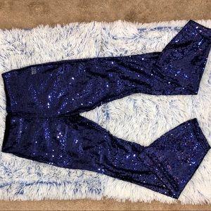Pants - Blue Sequin Flare Pants